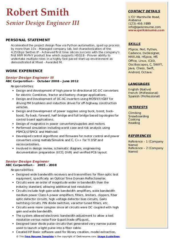 Senior Design Engineer Resume Samples | QwikResume