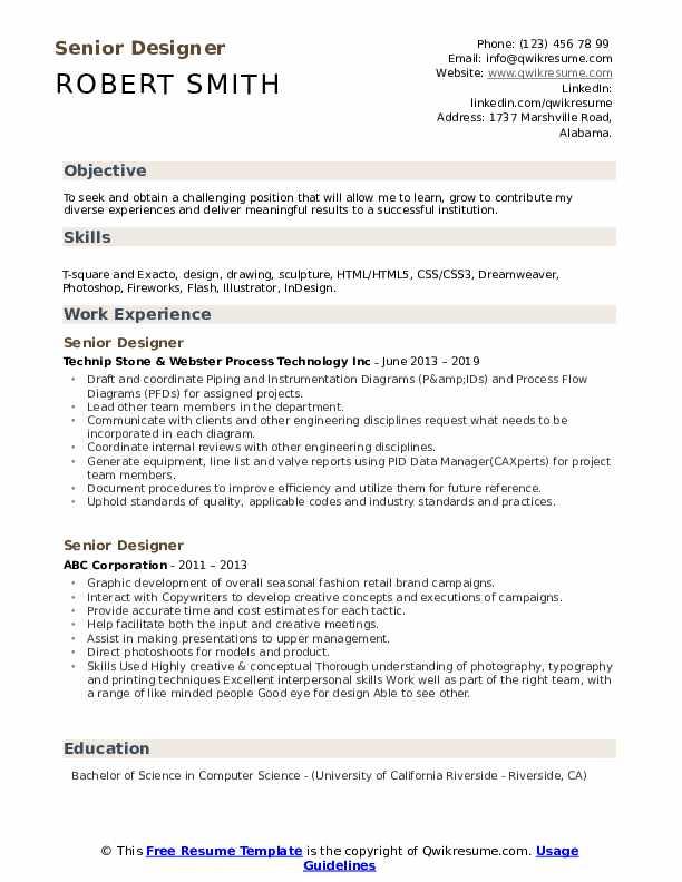 Senior Designer Resume Template