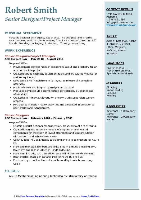 Senior Designer/Project Manager Resume Model