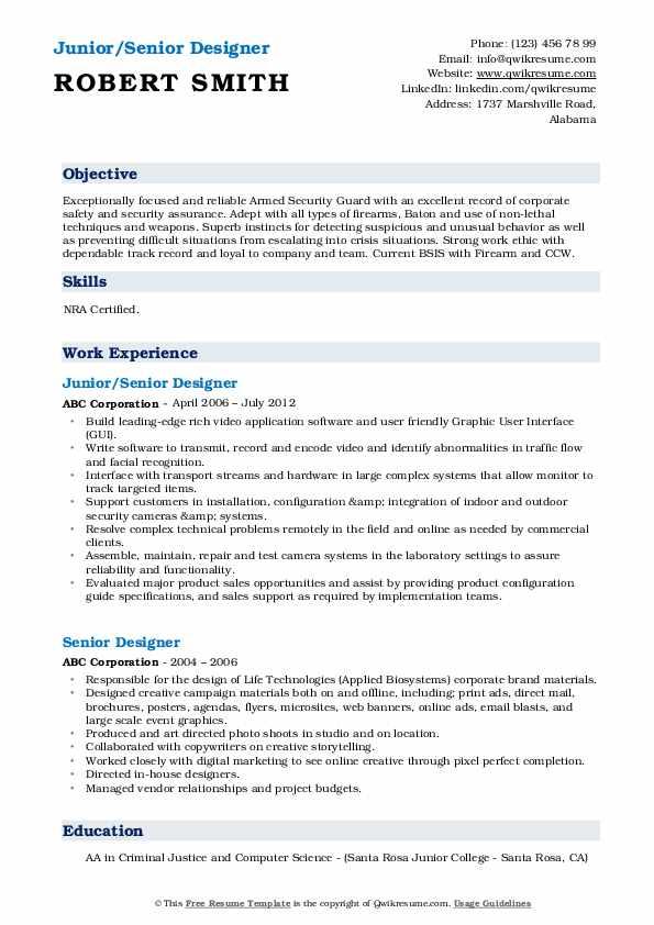Junior/Senior Designer Resume Sample