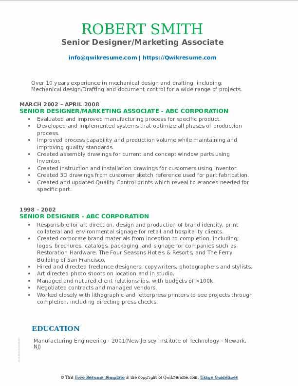 Senior Designer/Marketing Associate Resume Example