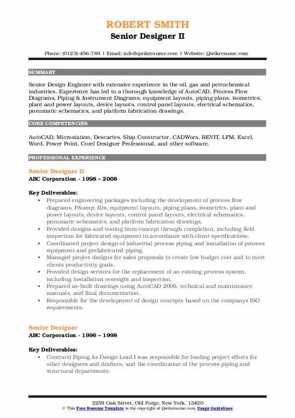 Senior Designer II Resume Format