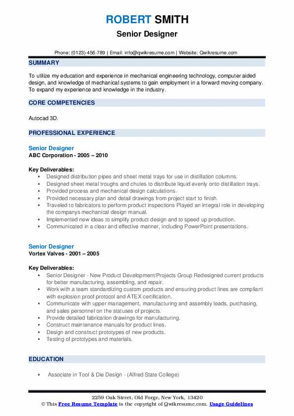 Senior Designer Resume example