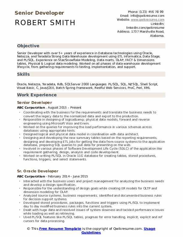 Senior Developer Resume Samples Qwikresume