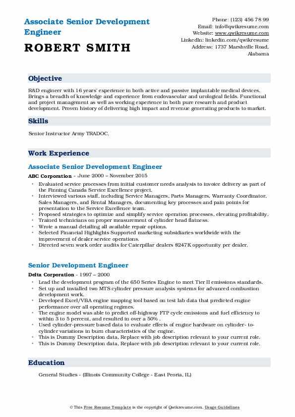 senior development engineer resume samples  qwikresume