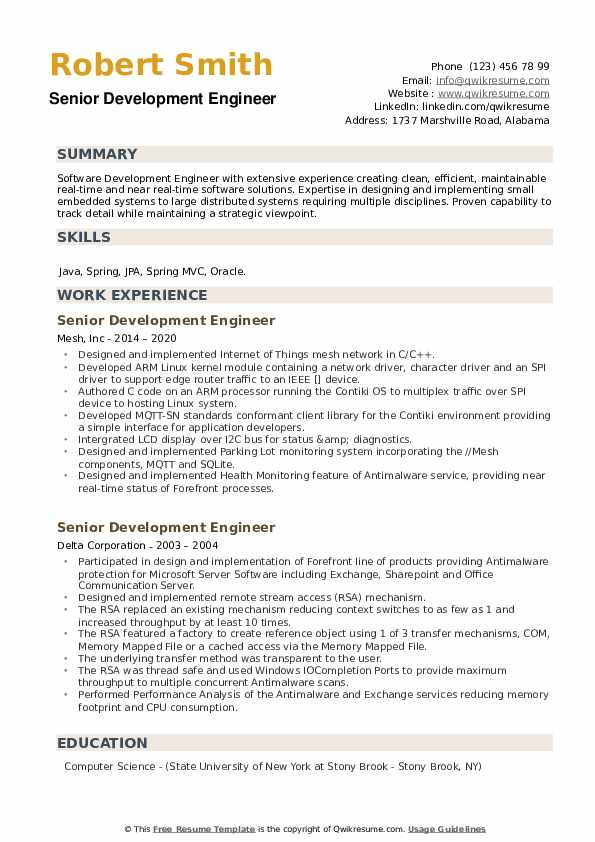 Senior Development Engineer Resume example