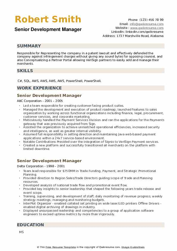 Senior Development Manager Resume example