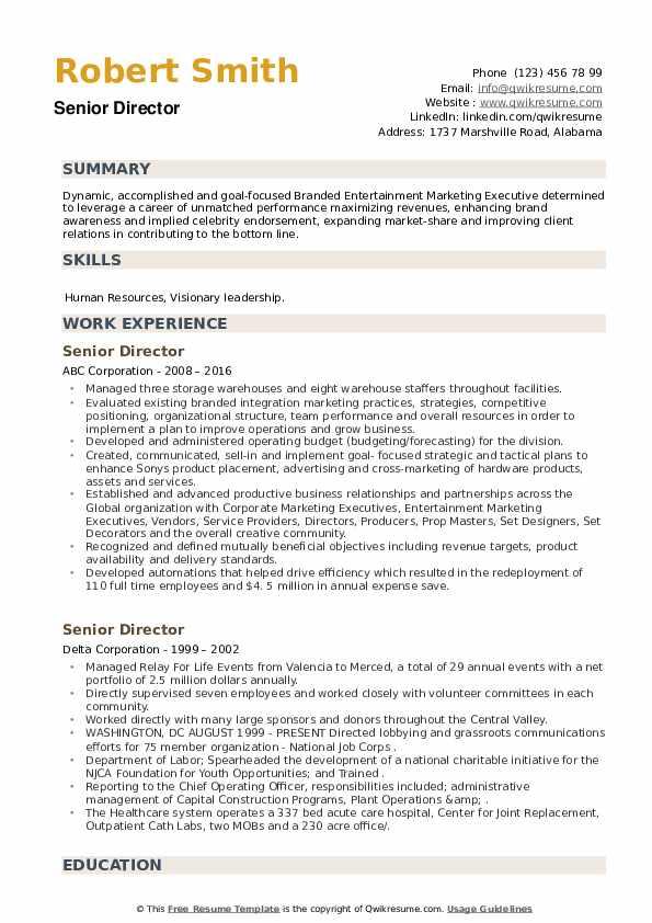 Senior Director Resume example