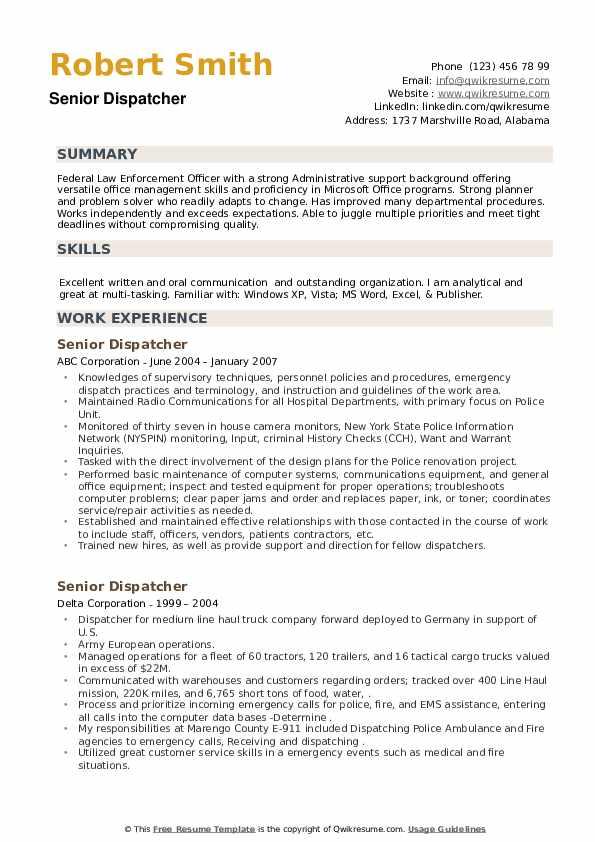 Senior Dispatcher Resume example