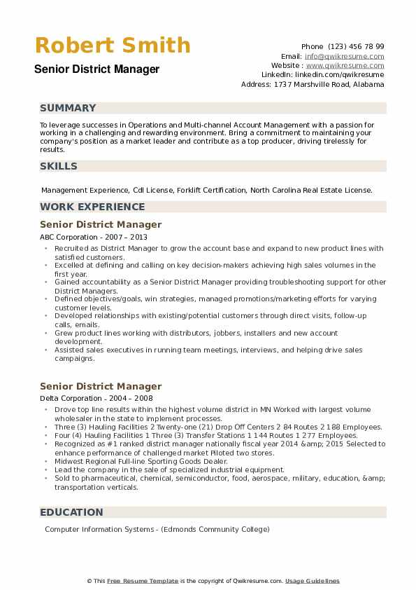 Senior District Manager Resume example