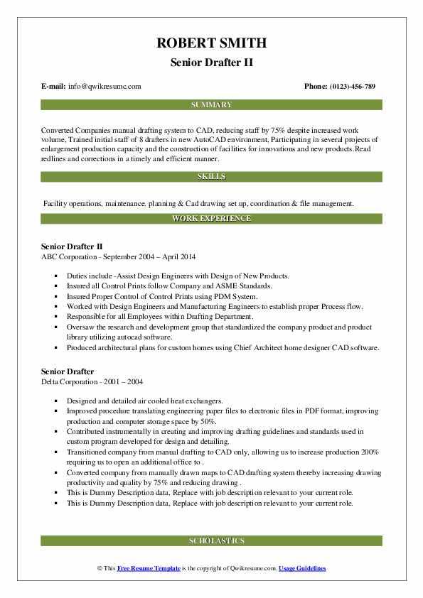 senior drafter resume samples  qwikresume
