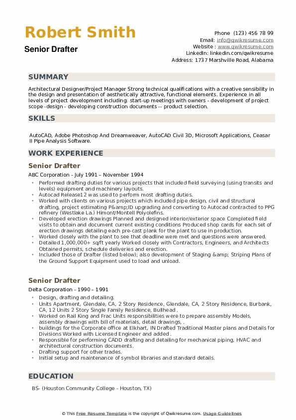 Senior Drafter Resume example