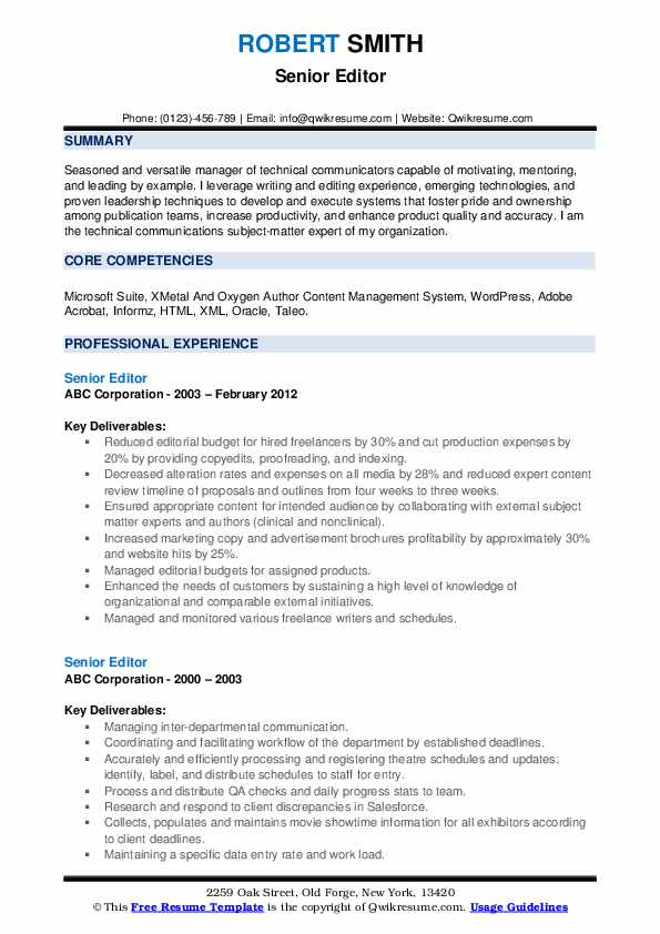 senior editor resume samples