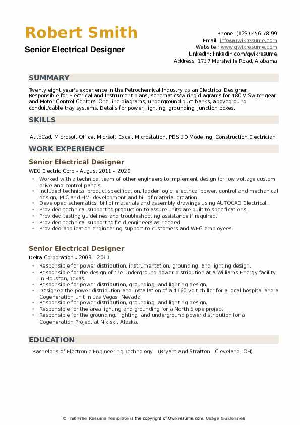 Senior Electrical Designer Resume example