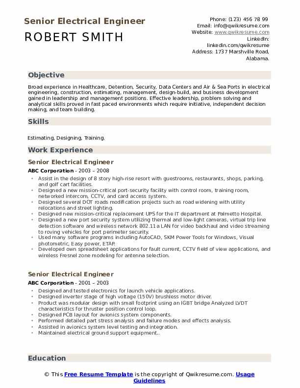 Senior Electrical Engineer Resume Samples Qwikresume