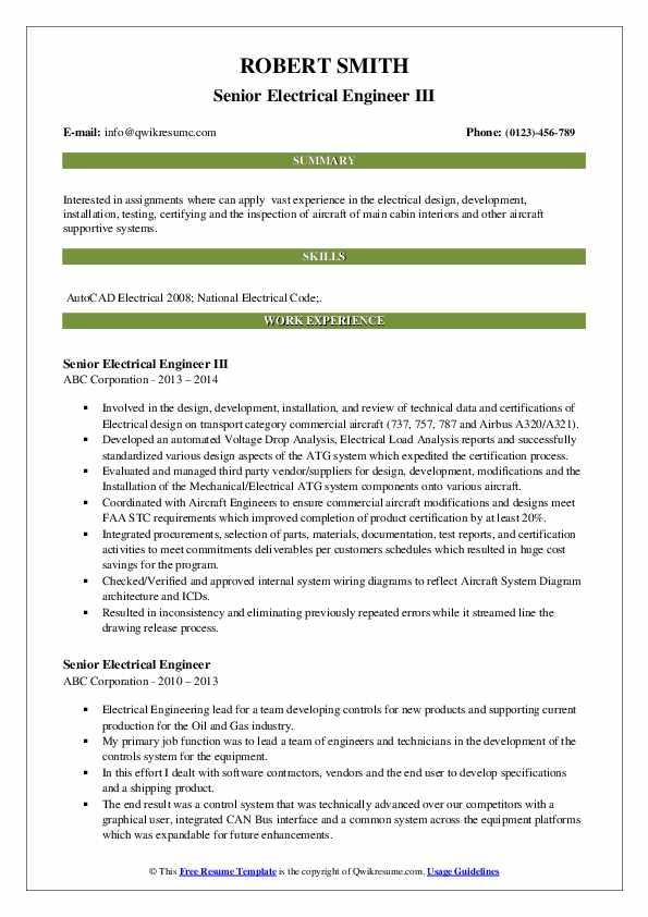 Senior Electrical Engineer III Resume Sample