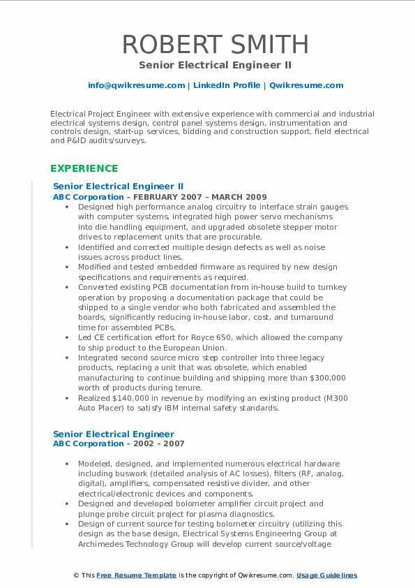 Senior Electrical Engineer II Resume Sample