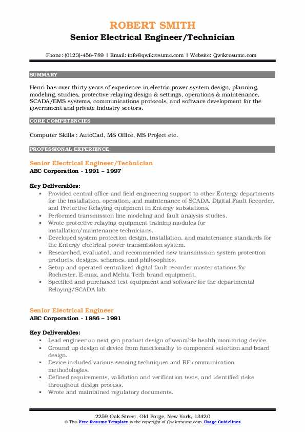 Senior Electrical Engineer/Technician Resume Format