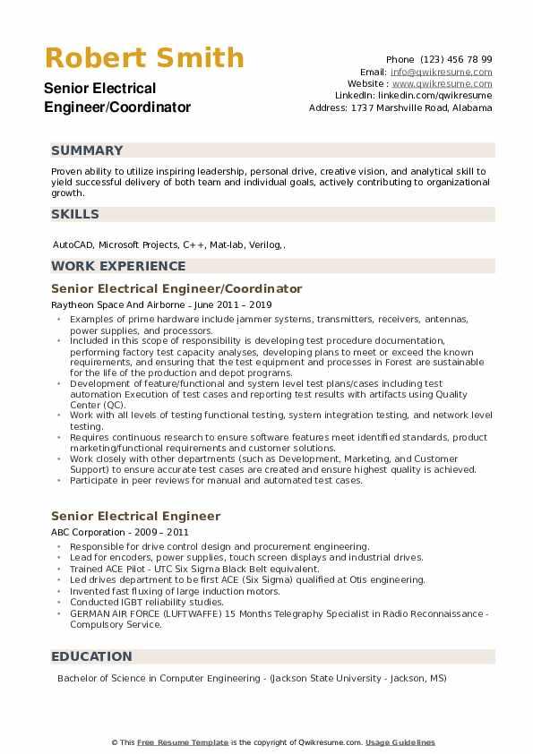 Senior Electrical Engineer/Coordinator Resume Model