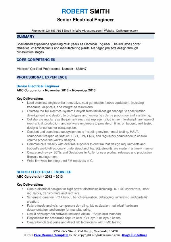 Senior Electrical Engineer Resume example