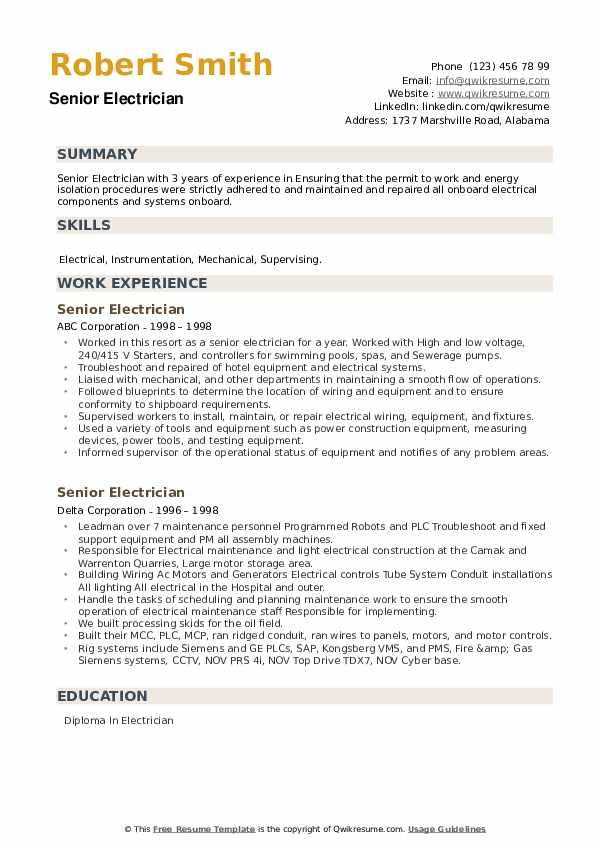 Senior Electrician Resume example