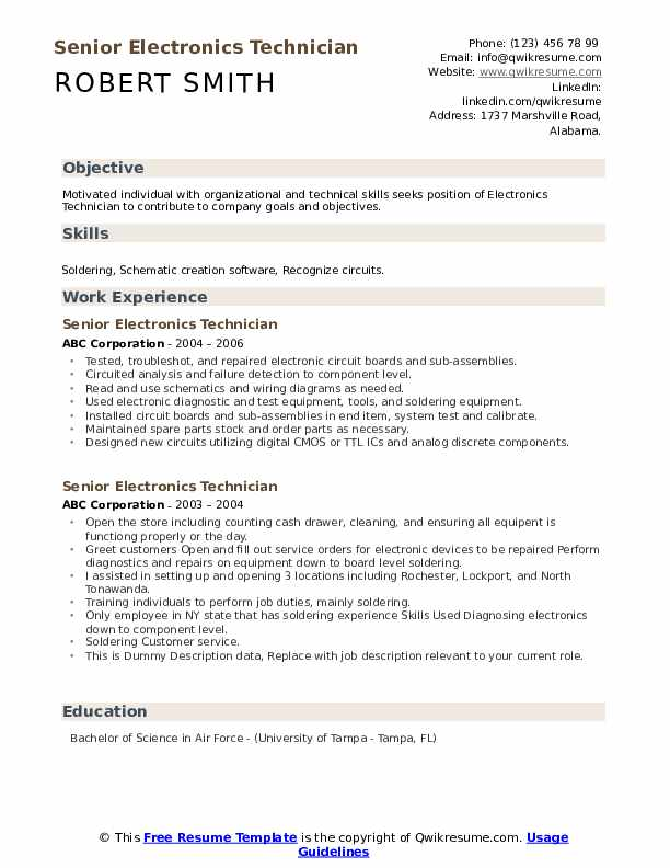 Senior Electronics Technician Resume example