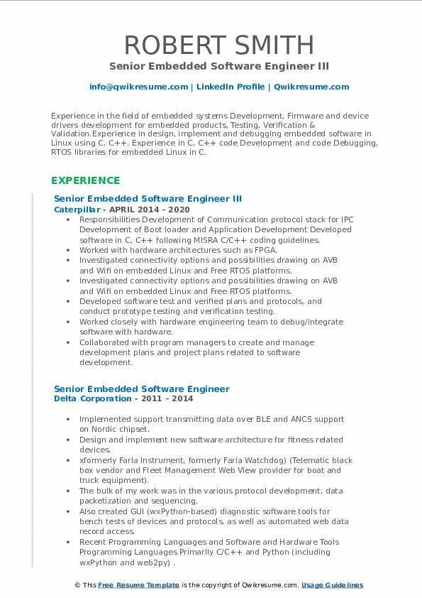 senior embedded software engineer resume samples