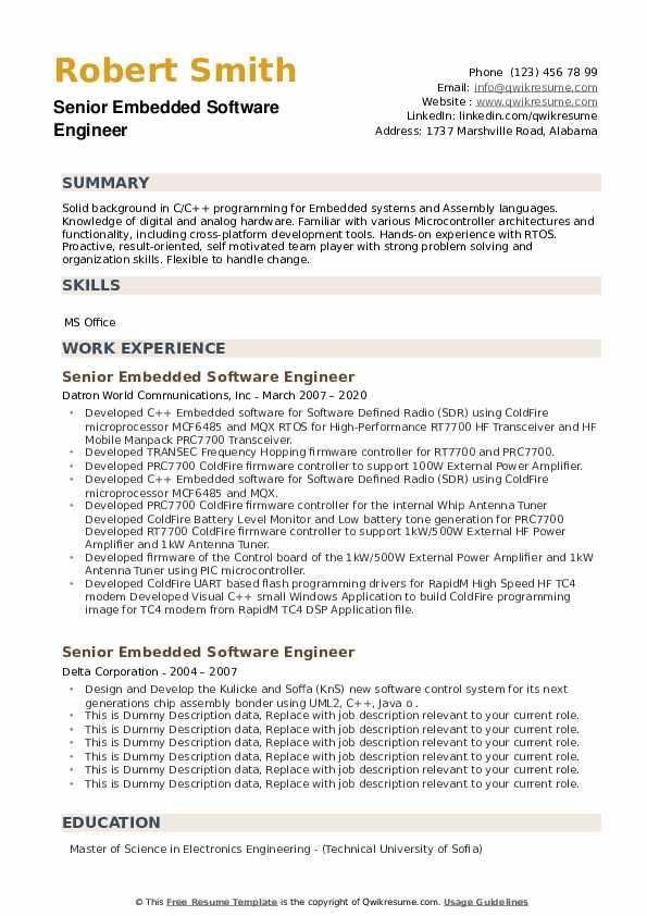 senior embedded software engineer resume samples  qwikresume