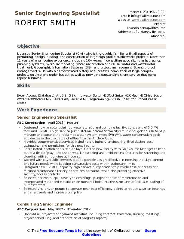 Senior Engineering Specialist Resume Format
