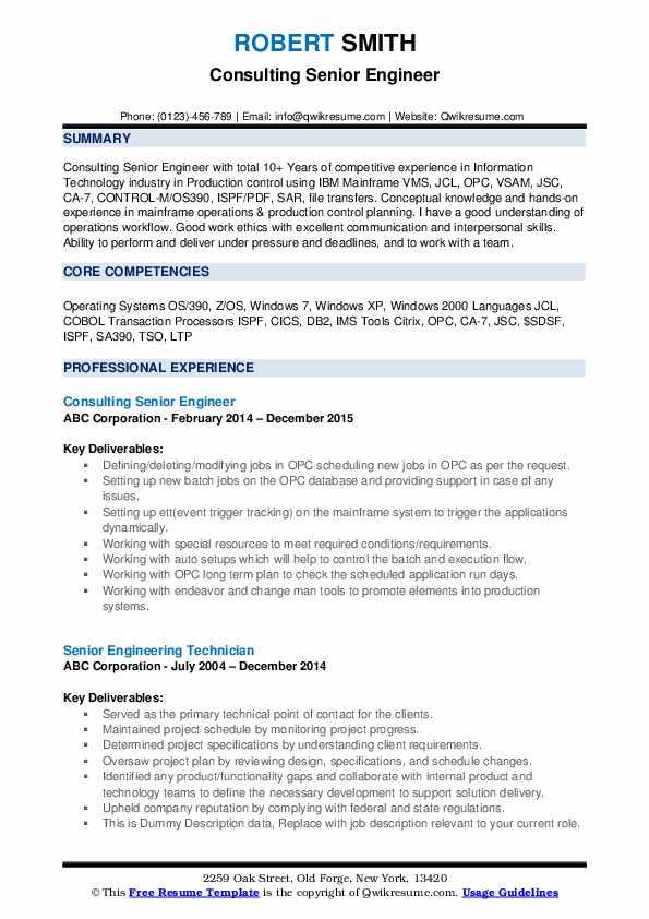 Consulting Senior Engineer Resume Format