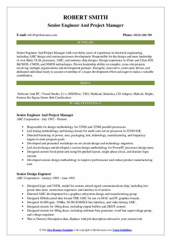 Senior Engineer And Project Manager Resume Format