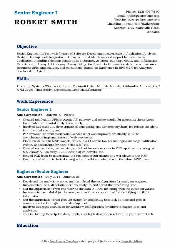 Senior Engineer I Resume Format