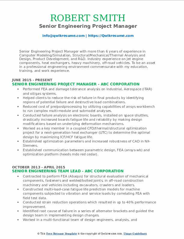Senior Engineering Project Manager Resume Example