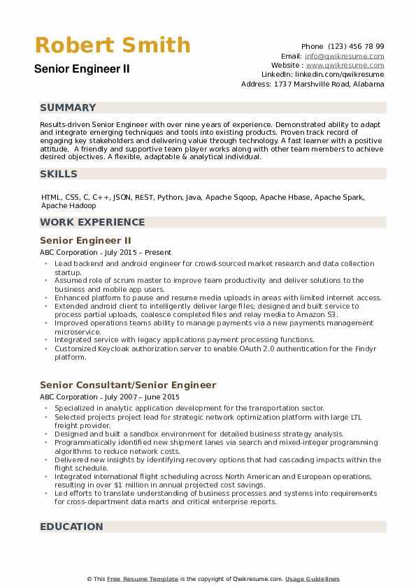 Senior Engineer Resume example