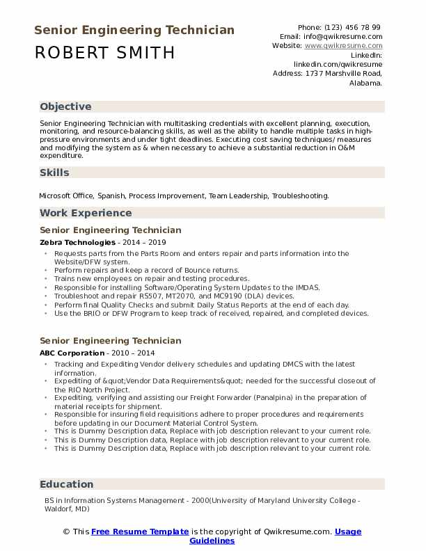 Senior Engineering Technician Resume Samples Qwikresume