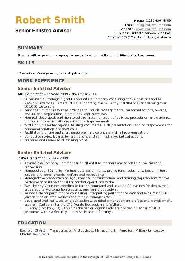 Senior Enlisted Advisor Resume example
