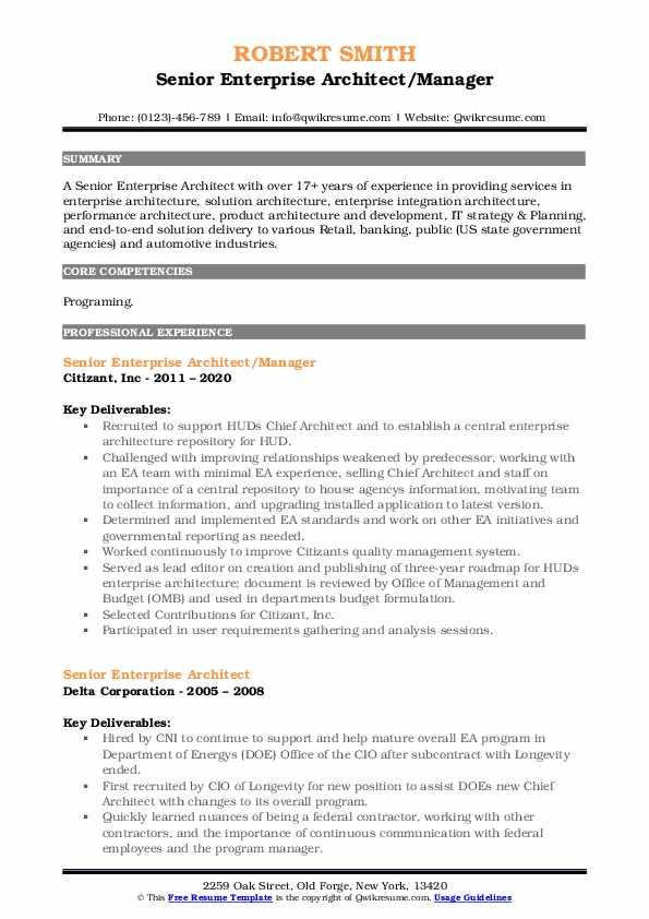 senior enterprise architect resume samples  qwikresume