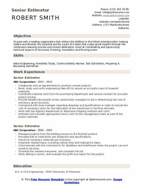 Senior Estimator Resume example