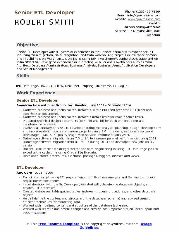 Senior ETL Developer Resume Sample
