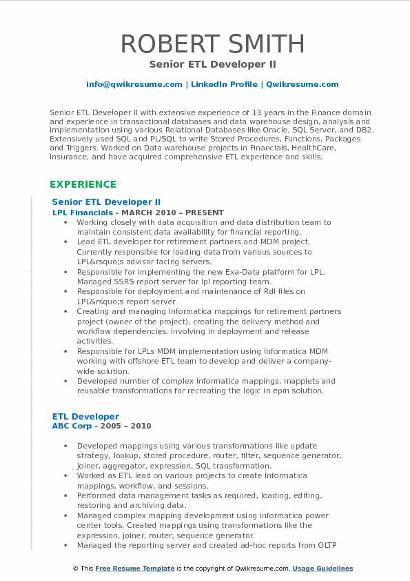 Senior ETL Developer Resume Samples | QwikResume