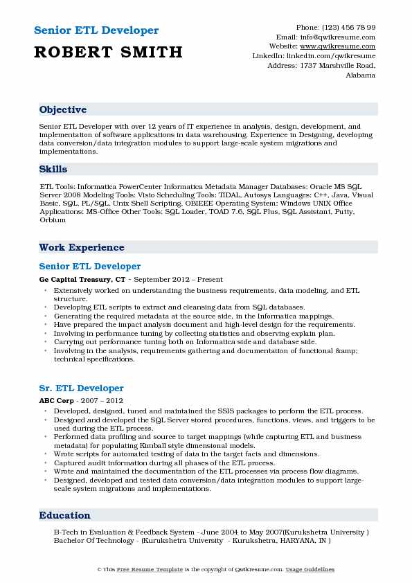 Senior ETL Developer Resume Format