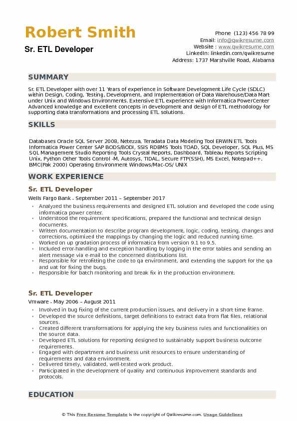 Senior ETL Developer Resume Example