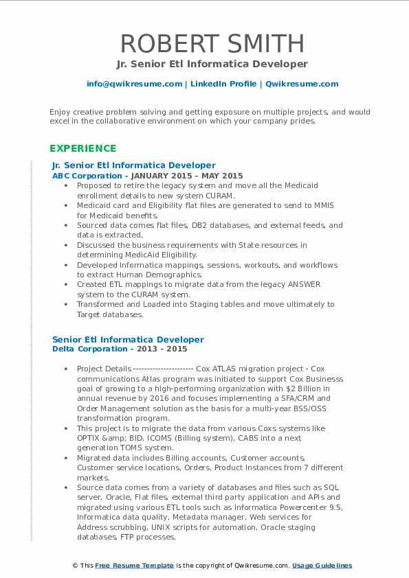 senior etl informatica developer resume samples  qwikresume