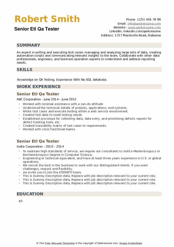 Senior ETL QA Tester Resume example