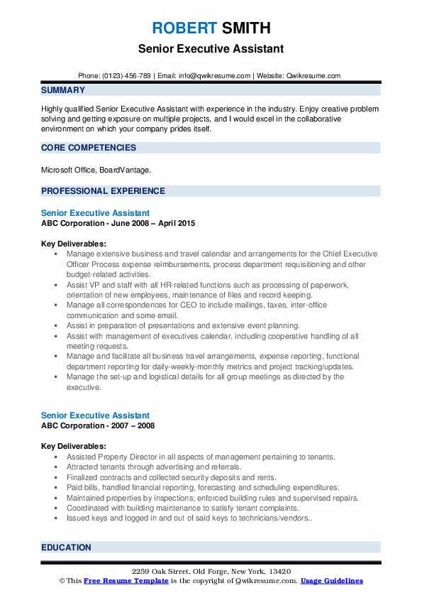 Senior Executive Assistant Resume Samples | QwikResume