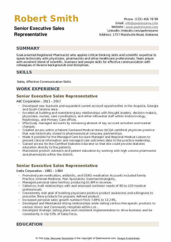 Senior Executive Sales Representative Resume example