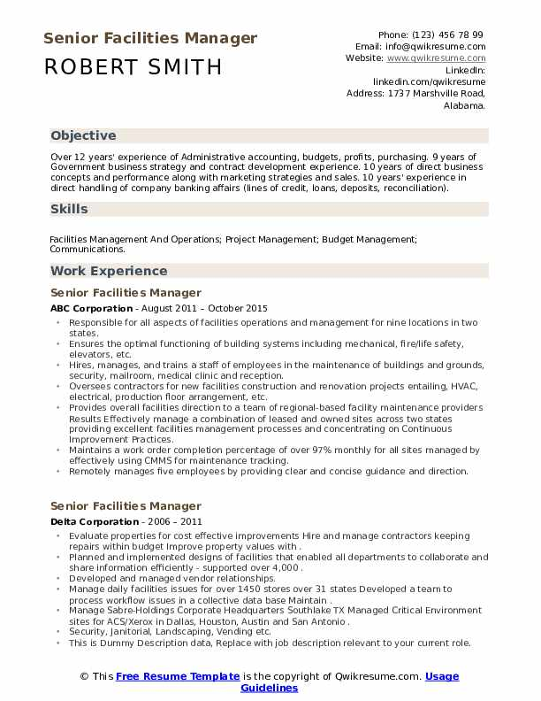 Senior facility manager resume nuclear pollution essay