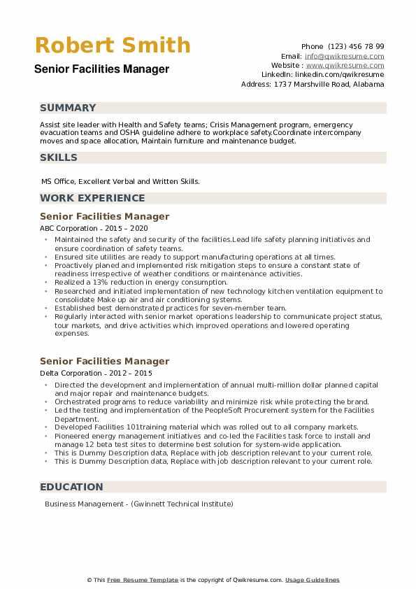 senior facilities manager resume samples  qwikresume