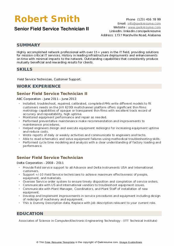 Senior Field Service Technician Resume example