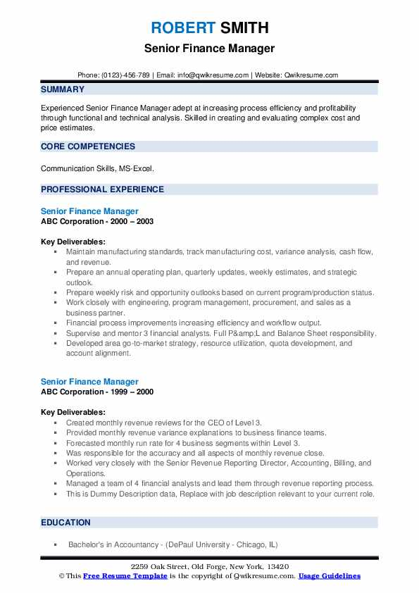 senior finance manager resume samples
